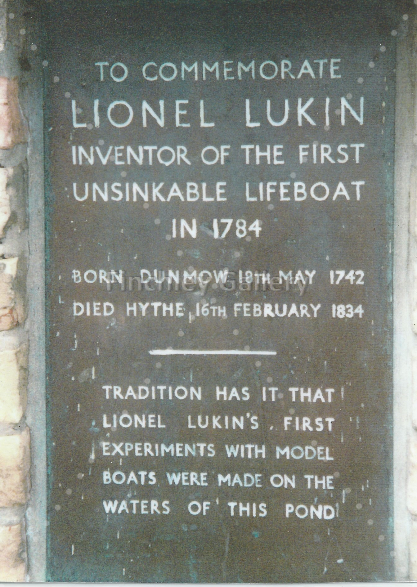 Lionel Lukin sign at the Doctor's Pond Dunmow