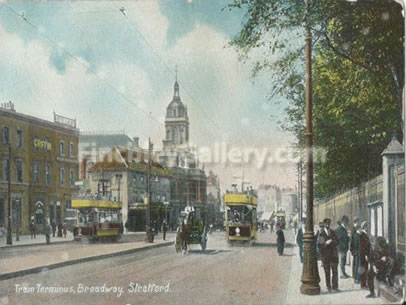 The Tram Terminus, Stratford, Essex 1908