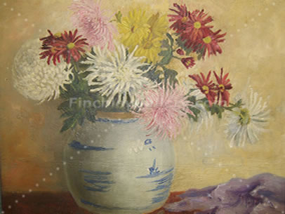 BOWL OF CHRYSANTHEMUMS PAINTED IN VALLEY AVENUE