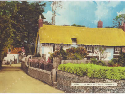 POSTCARD OF BLAKES COTTAGE, FELPHAM, SUSSEX