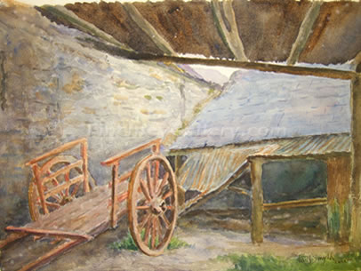 SHED IN THE PENTRE TREGARON, FIRST PAINTING